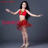 2018 New Girls Milk Silk Belly Dance Clothes 2pcs top+skirt +Underwear For Girls Belly Dance Suit Ballroom Dance Suit