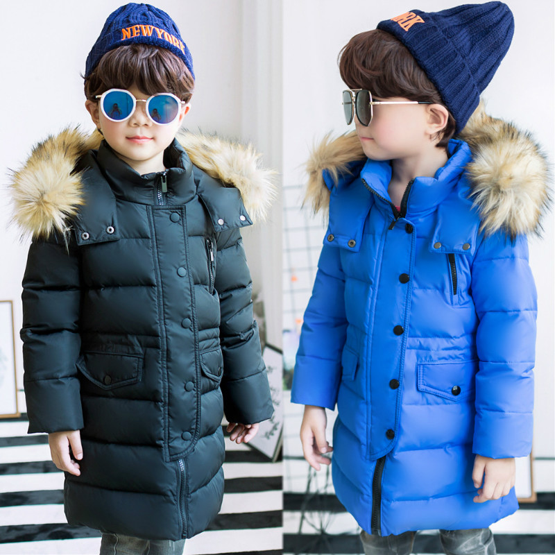 Children In The Down Jacket In The Long Section of The Big Children In The Thick Red Collar Boys and Girls 2017 Winter New Coat 2017 europe and the united states fashion color hooded long section of the windbreaker spring new cotton jacket girl red jacket