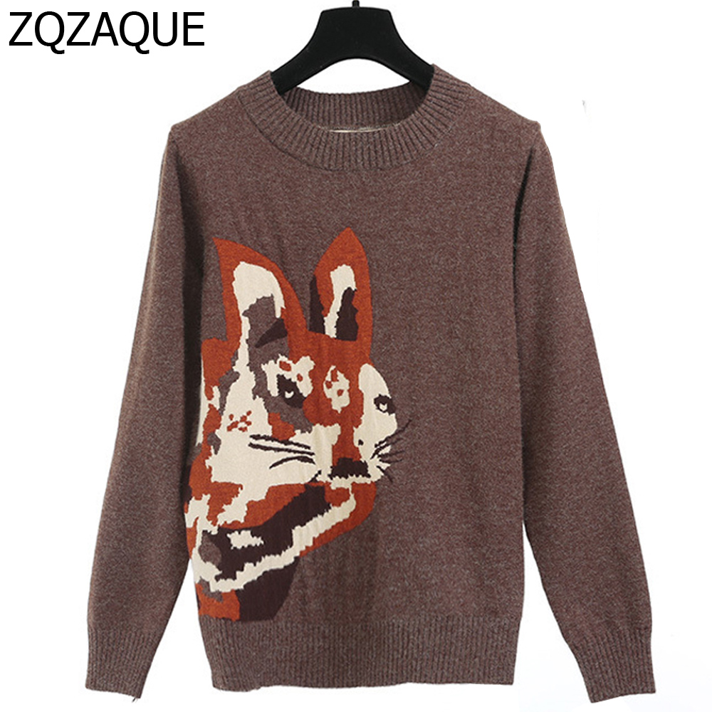 Luxury High Quality Bunny Pattern Jacquard Rabbit Hair Sweaters For Women Brown Color Fashion Lady Knitted Pullover Tops SY1535