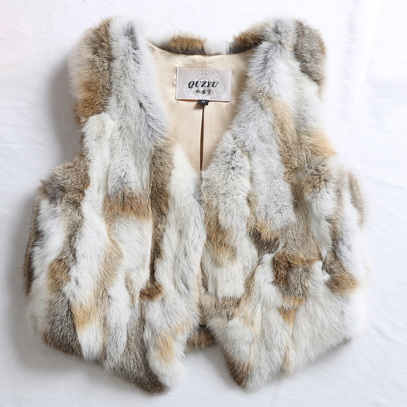 2016 Real Rabbit Fur Vest Waistcoat Autumn Winter Genuine Women Fur Outerwear Coat Lady Cute Gilet