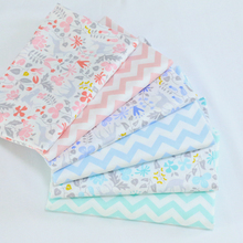 Free Shipping 6pcs 49x40cm Fl Twill Cotton Fabric Blue Pink System Pure Make Clothing Bed