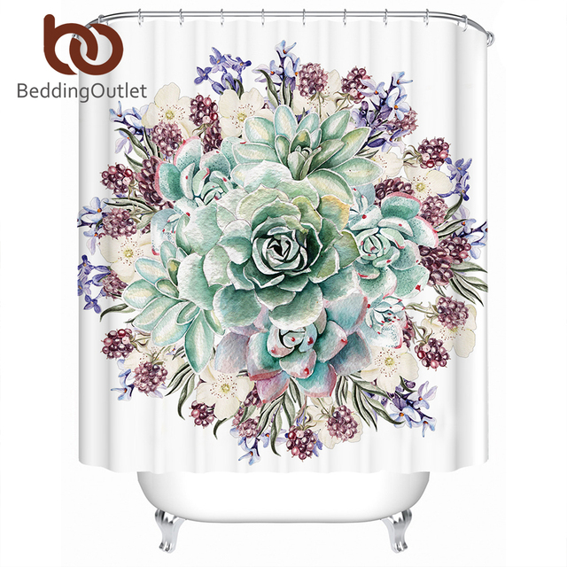 BeddingOutlet Green Succulents Shower Curtain 3D Flowers Polyester Waterproof Tropical Bathroom With Hooks Banheiro
