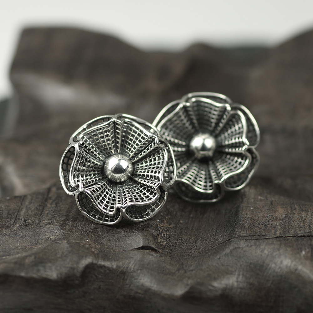 Original Design Real 925 Sterling Silver Exaggerated Large Flower Earrings For Women Hollow Vintage Earrings Luxury Jewelry