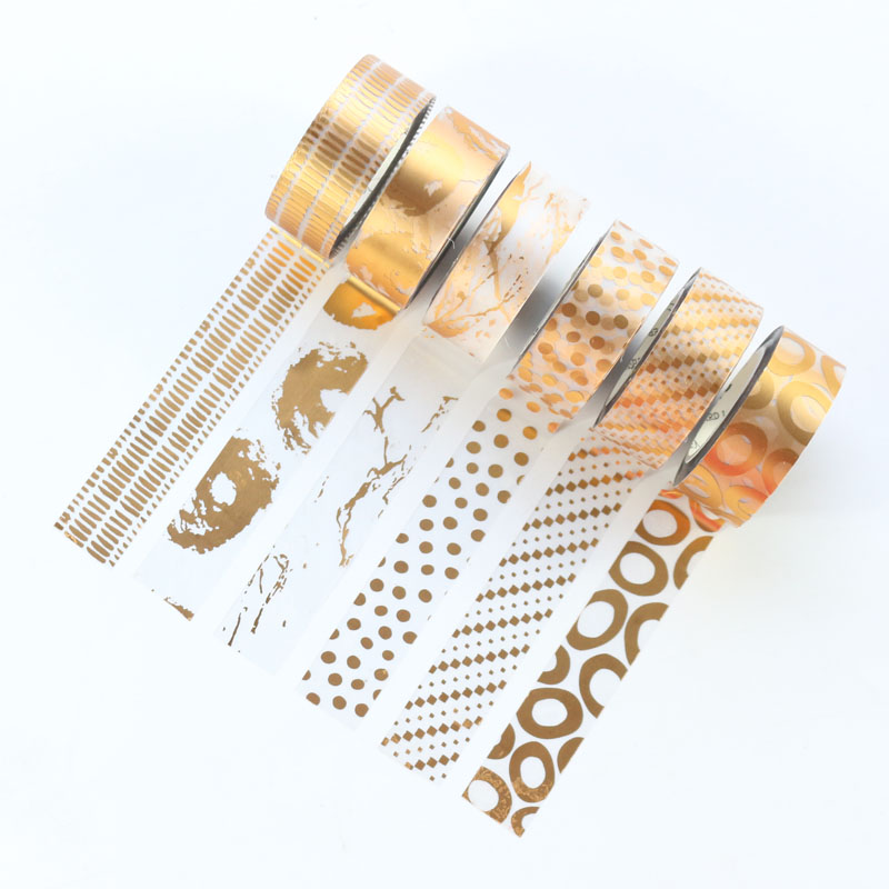 Domikee Cute Kawaii Japanese Gold Foil Decoration Washi Tape For Diary Planner Notebook,candy DIY Masking Tape For Craft Packing