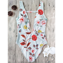 ZAFUL 2017 Sexy Plunging Neck Floral High Cut Sexy Swimsuit Vintage Summer Bathing Suit Swimwear Retro Monokinis Beachwear