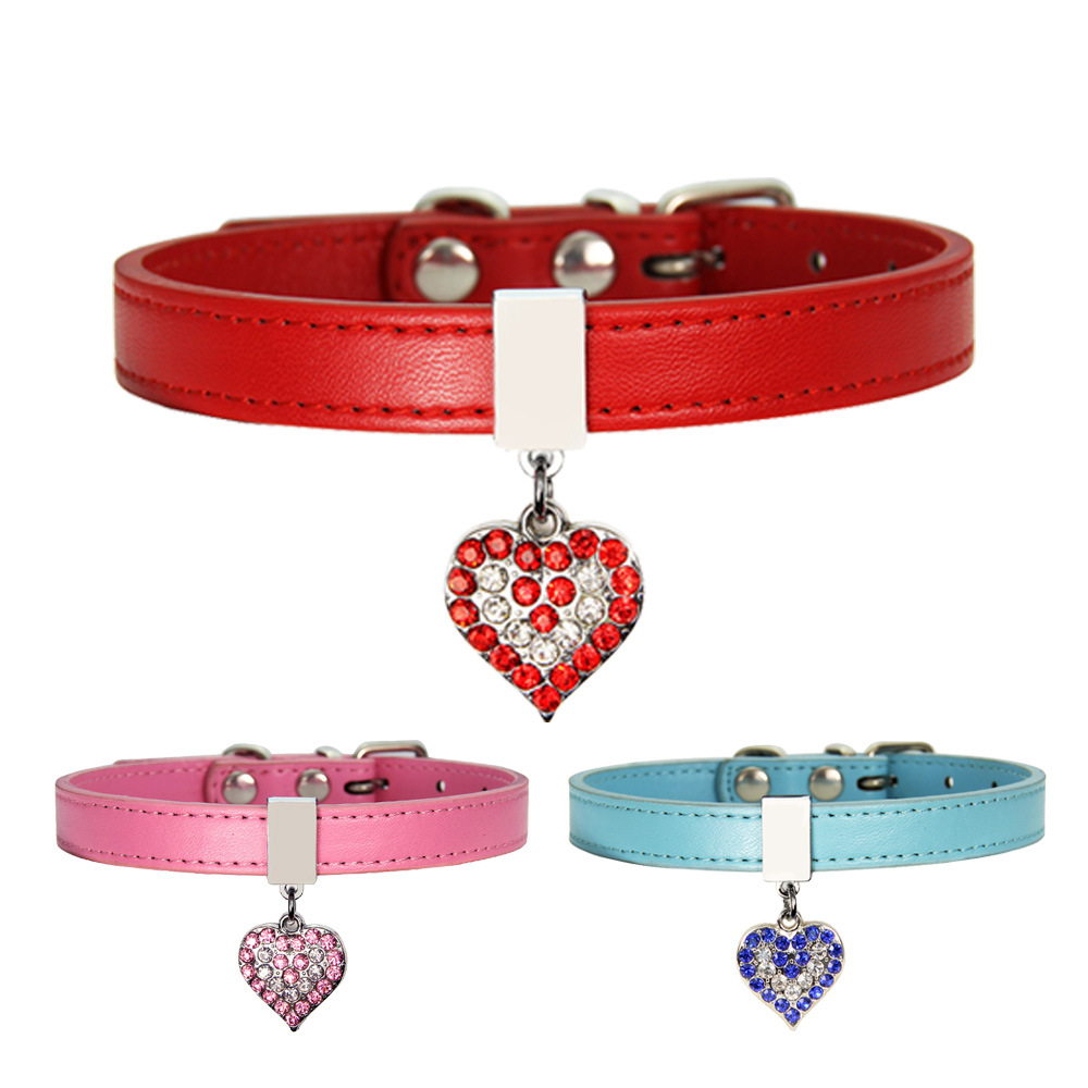 PU leather collars for dogs love heart diamonds rhinestone pet collar puppy dog small cat accessories