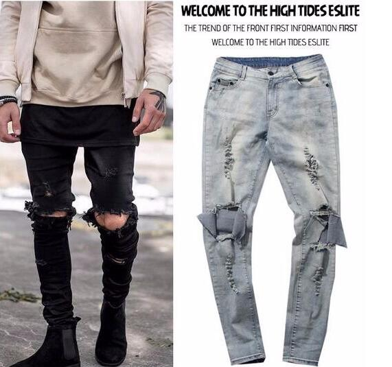 1233035a New 2018 Hip Hop Skinny Ripped Jeans For Men Male Black Motorcycle Rap  Camouflage Denim Pants Swag Hole Silm fit Biker Jeans