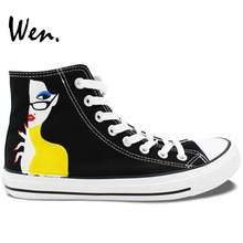 Wen Original Design Custom Hand Painted Shoes Cartoon Girl Birthday Gifts for Men Women Black High Top Canvas Sneakers
