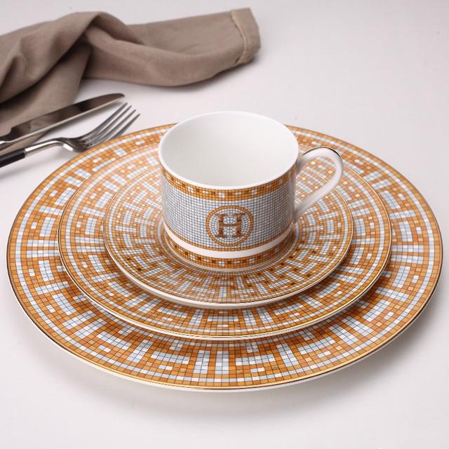 Ceramic Dinner Plates Geometric Pattern Ceramic Dish Dinner Plate Yellow Grid Dinnerware Set