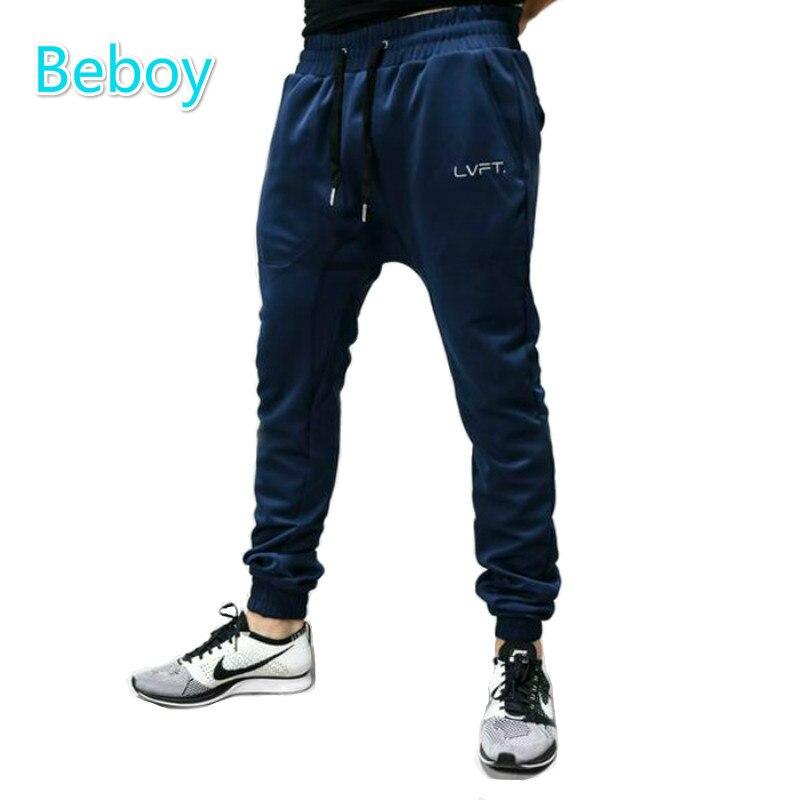 Prix pour Beboy Confortable Coton De Survêtement De Sport Hommes Solide Fitness Pantalon À Séchage Rapide Élastique Taille Formation Pantalon Exercice Sportwear