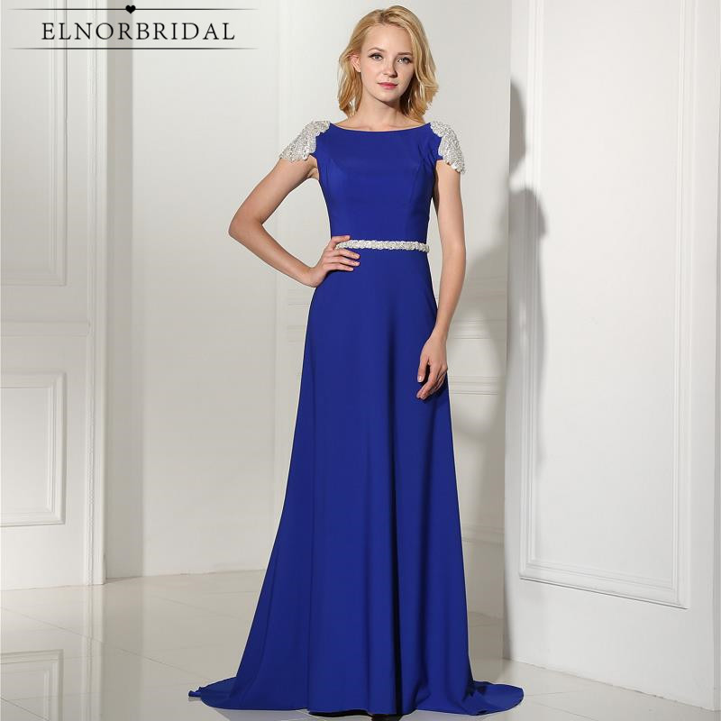 Royal Blue Evening Dresses Long 2018 Open Back Robe De Soiree Cap Sleeve Long Prom Dress Formal Party Gowns