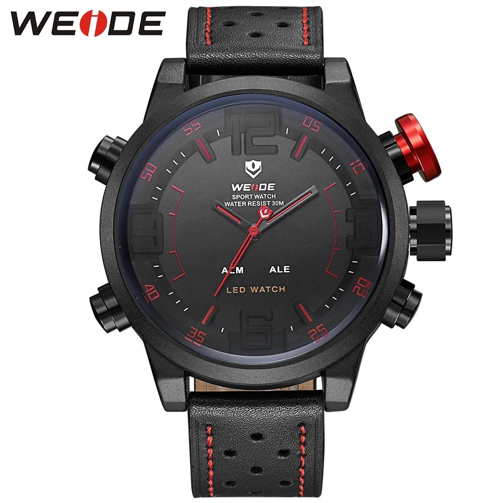 WEIDE Watch Men Sport Water Resist Black Leather Strap Over size LED Display Auto Date Quartz Wristwatches Male Montre Homme все цены