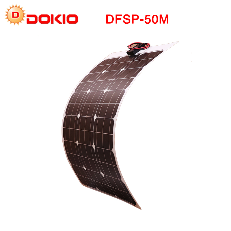 Dokio Brand China 50W Flexible Solar Panel + 12V Solar Panel Controller For Phone & Camping & Travel Portable Solar Battery dokio brand 50w 18v flexible solar panel china 10a 12v 24v controller 50w flexible panels solar for car boat battery charger