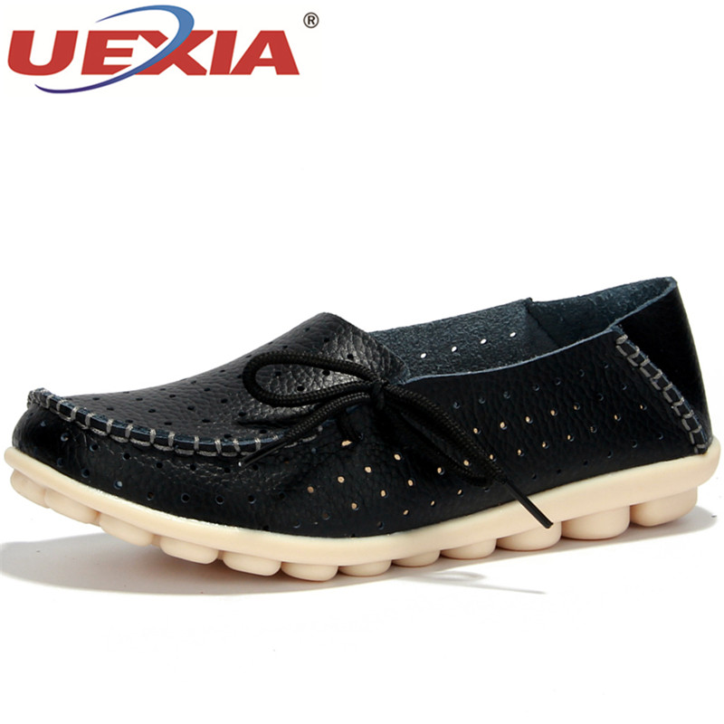 UEXIA New Women's Shoes Leather Moccasins Mother Loafers Soft Leisure Flats Female Ladies Driving Ballet Casual Footwear Shoes