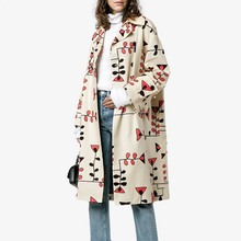 Winter trench Boho Casual Office Lady Elegant Plus Size Women Overcoats Loose Cotton Lapel Floral Print Female Fall Khaki Coats