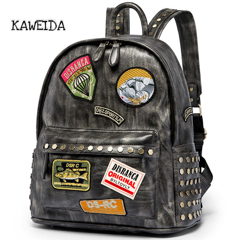 все цены на Silver Grey Pu Leather Rivet Studded Backpack For Women Men Large capacity Personalized Punk Street Style Cool School Travel Bag