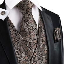 Hi-Tie Mens Suit Vest New Brand Designer Formal Business Dress vest Slim Fit Gilet Male Sleeveless Waistcoat VE-0007