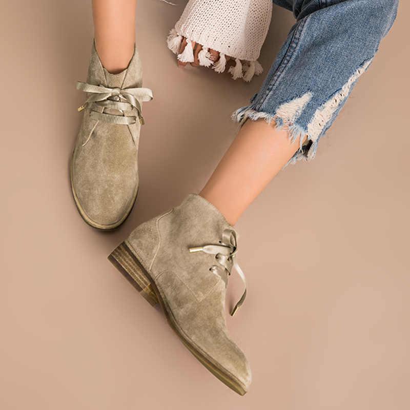 BeauToday kadın yarım çizmeler hakiki deri inek süet kurdele bağı-Up botları marka bayan ayakkabı yüksek kalite 03080