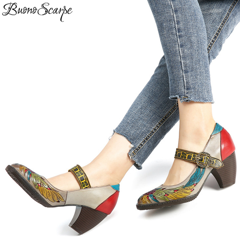 Ethnic Women Heels Pumps Buckle Round Toe Mary Janes Shoes Carved Wings Sexy Elegant Lady Heels