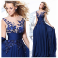 Royal Blue/Red/Black Appliques Lace Crystal Sheer Sleeveless Sexy Evening Dresses Long Prom Party Bride Gowns Robe De SoireeBK04