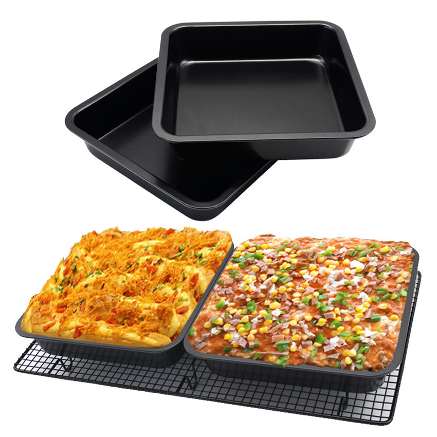 8 inch square baking pan Tray Oven Steel Trays Bread Baking Forms Pan Cookie Cake Pan Mold microwave dish baguette baking tra L4