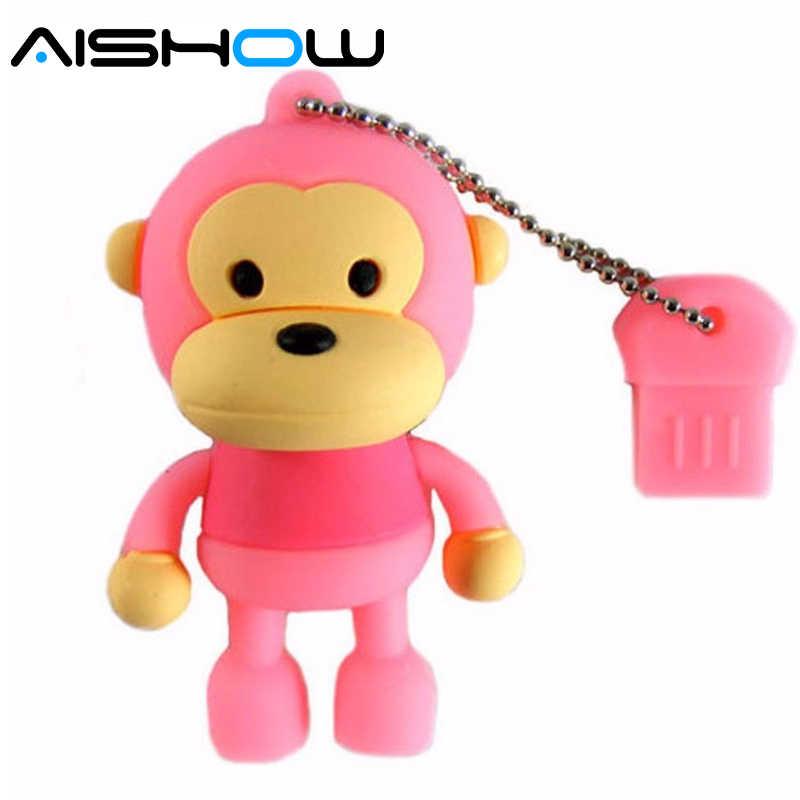 Реальная емкость обезьяна 8 Гб 16 г 32 Гб 64 Гб usb флеш-накопитель флешки антивирусные мультфильм подарок Бесплатная доставка