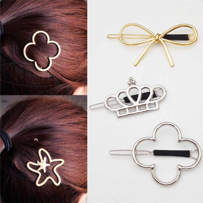 10 Styles Girl Hair Pins Vintage Metal Crown Bowknot Four-leaf Grass Flower Star Hair Clips Hair Accessories Free Shipping