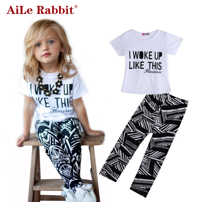 AiLe Rabbit Baby Girls Stripe I Woke Up Like This Toddler shirt and Pants Outfits Set Girls Clothing Sets Kids Good Quality Suit