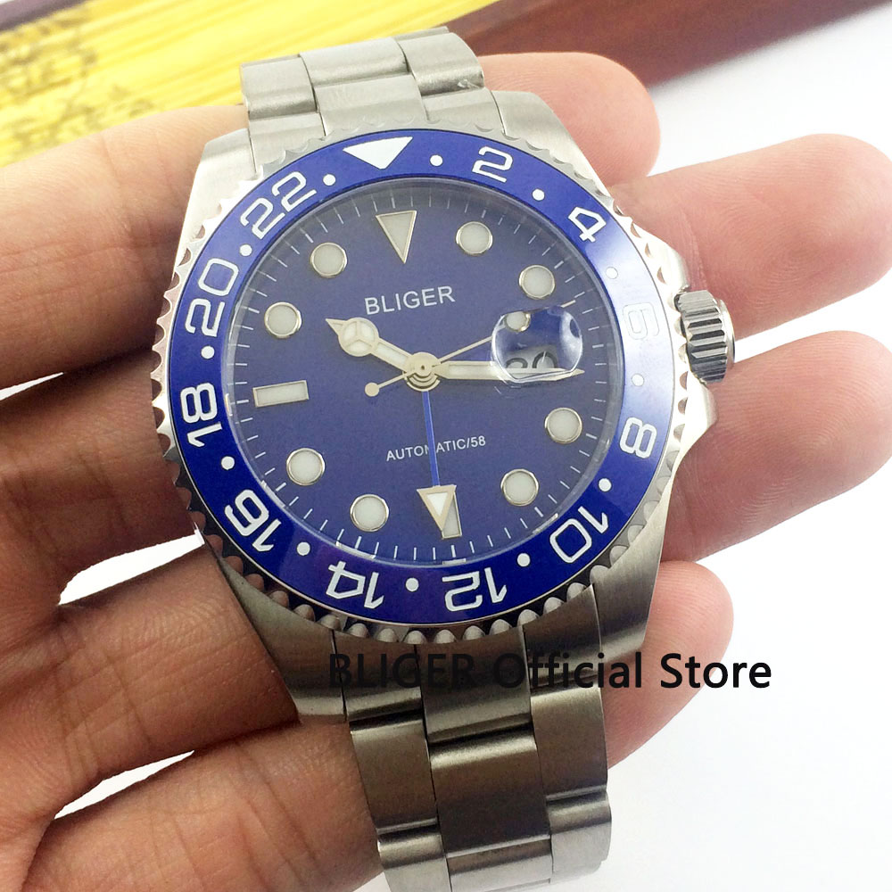 Sapphire Crystal BLIGER 40mm Blue Dial Ceramic Rotating Bezel Luminous Marks Blue GMT Pointer Automatic Movement Mens WatchSapphire Crystal BLIGER 40mm Blue Dial Ceramic Rotating Bezel Luminous Marks Blue GMT Pointer Automatic Movement Mens Watch