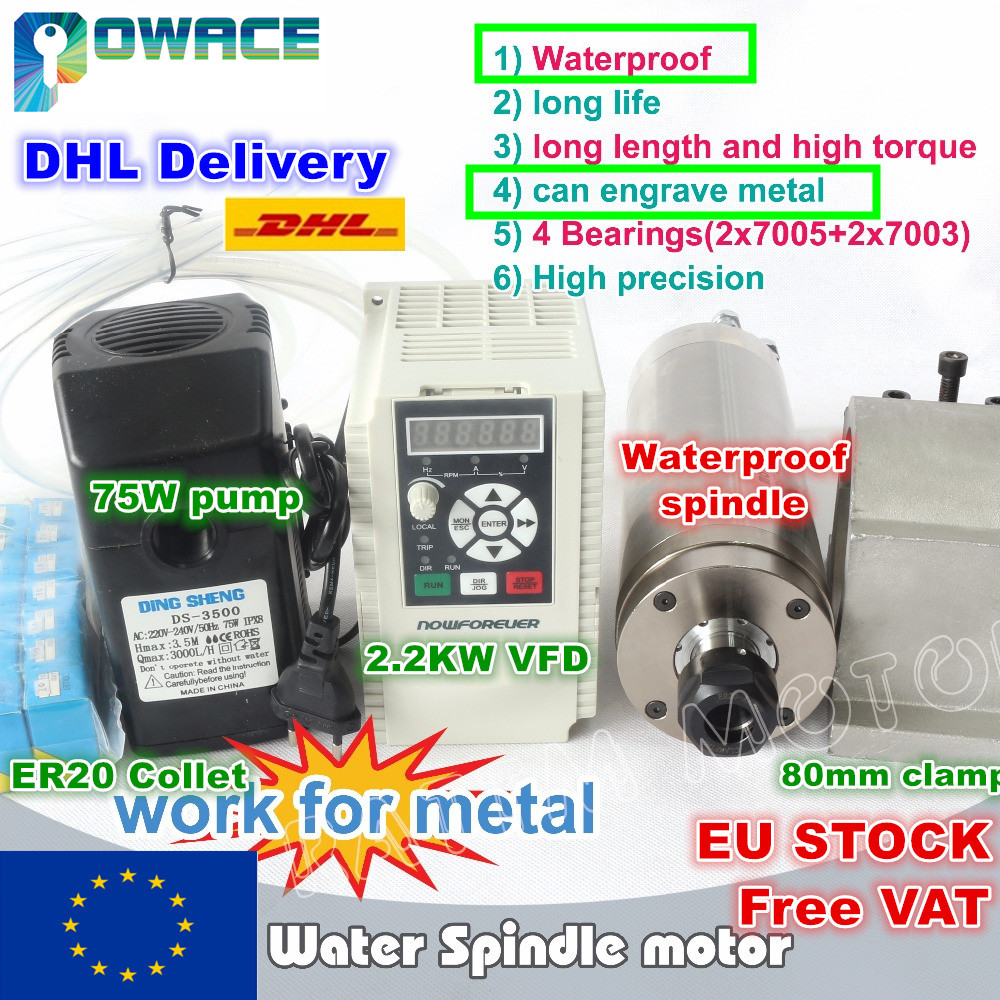 EU SHIP 2 2KW Waterproof Water cooled Spindle Motor ER20 220V Carved metal Inverter 80mm