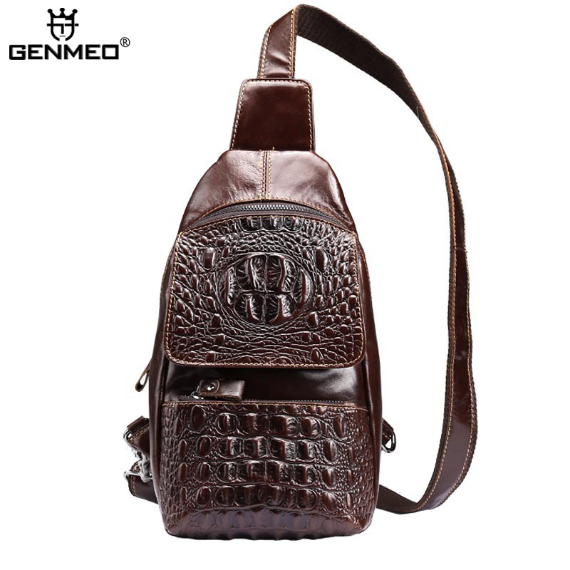 New Arrival Alligator Genuine Leather Body-Cross Single Shoulder Bags Men Cow Leather Messenger Bag Retro Real Leather Tote bags 3d alligator men genius leather bag retro brand design 2015 new arrive single shoulder bags clavus chest package crossbody bags