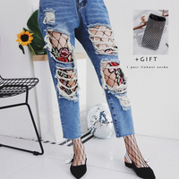 SP CITY Fashion Flower Patch Handmade Hollow Out Net Panty Unique Fishnet Pantyhose Floral Embroidery Mesh