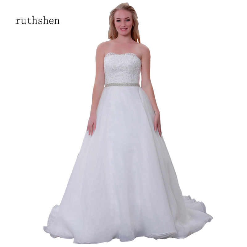 Plus Size Wedding Dresses 2019 2-28W Long Strapless Lace Embroidery Crystal Big Train Beach Bridal Wedding Gown robe de mariage