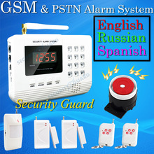 Hot Selling Free Shipping  wholesale Wireless  PSTN GSM Alarm System 433MHz Home Burglar Security Alarm System