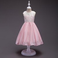 Children Designer Summer Wear Trendy Clothes Kids 8 Colors Grey Sky Blue Pink Dress Chiffon And