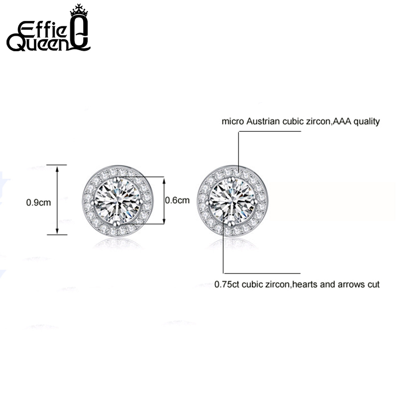 Effie Queen Women Örhängen 0.75ct CZ Zircon Crystal Stud med Runda - Märkessmycken - Foto 6