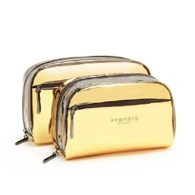 Gold Evening Bags Clutches Luxury Cosmetic Bag Dazzle Golden Protable Makeup Set