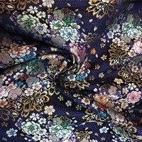 1 Yard Blue Florals Fashion National Jacquard Brocade Fabric Japanese Kimono Dress Fabric DIY Material For Sewing