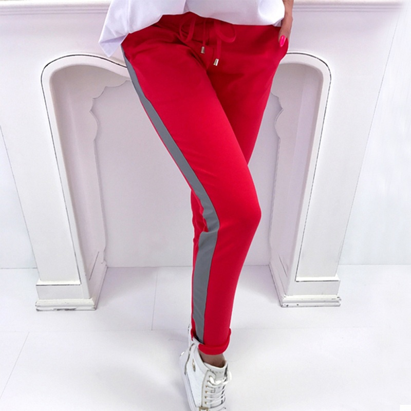 Summer Spring Striped Pencil Pants Women Sweatpants Red Bottoms 2018 Casual High Waist P ...