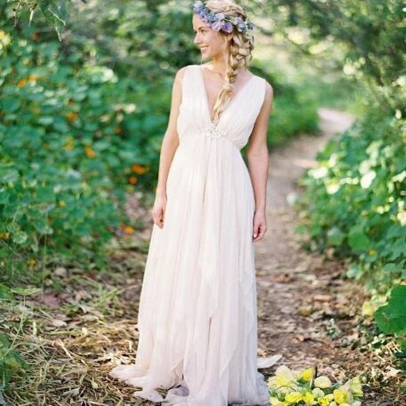 Summer Vintage Wedding Dresses: Backless Beach Wedding Dresses V Neck Flowing Vintage Boho