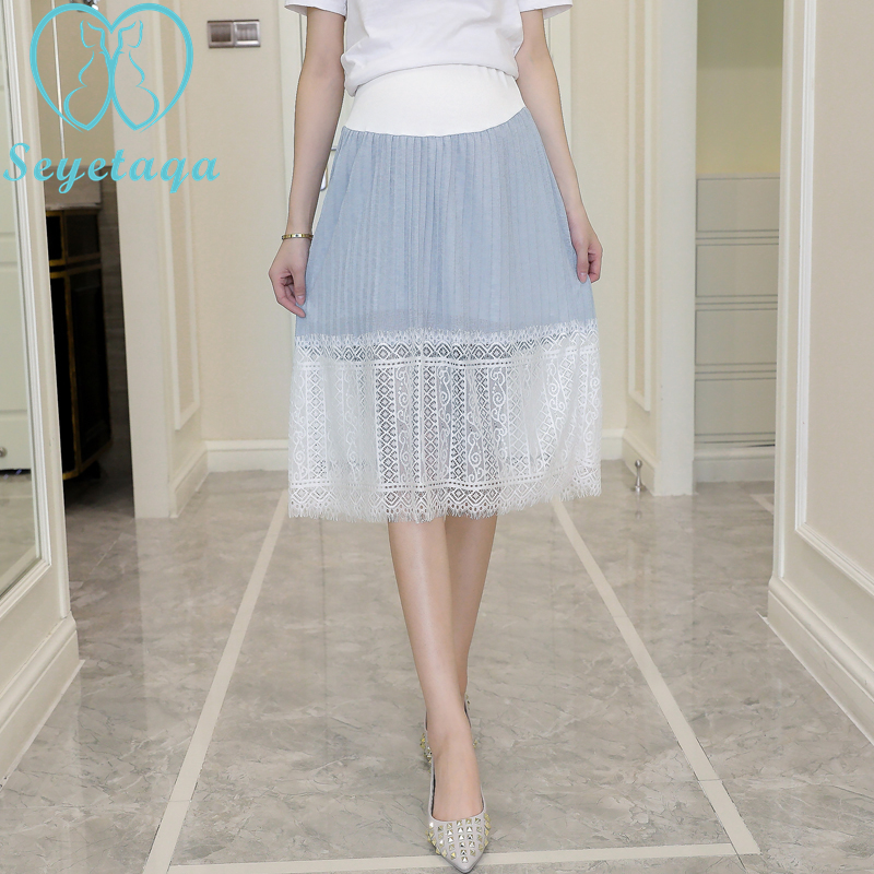 1866# Elastic Waist Belly Lace Maternity Skirts 2018 Spring Summer Fashion Clothes for Pregnant Women Adjustable Pregnancy Skirt