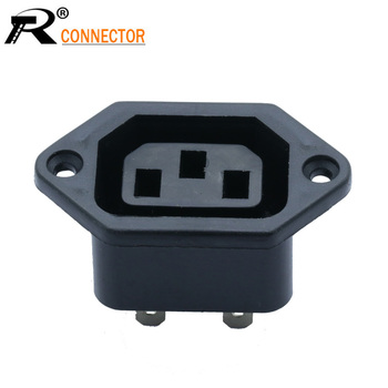100pcs/lot AC Power Supply Connector AC Female Jack Socket 3 Pins IEC320 AC 250V 10A Power Adapter Chassis Wholesales