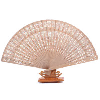 None 10PCS Chinese Traditional Wooden Openwork Hand Held Fans Folding For Wedding Decoration Birthdays Gifts Party