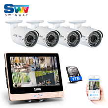 Newest! 12Inch'LCD 4CH POE Video Surveillance System&1080P HD Outdoor+Home Waterproof IR POE CCTV Camera Kit+1TBHDD Mobile APP
