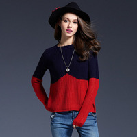 2019 New Long Sleeve Bottom Knitted Sweaters eBay Hot Selling Euro American Wind Collision Splicing Woman's Sweaters