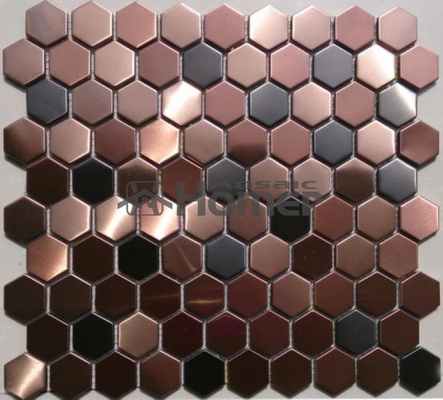Free Shipping Honeycomb Pattern Purple Stainless Steel Metal Mosaic Tile Hexagon Tiles For