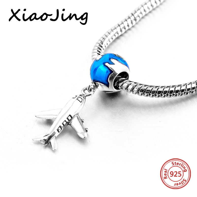 High quality Plane and earth Pendant charm Bead Fit European charms silver 925 original be