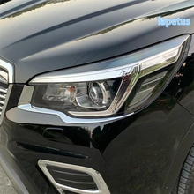 Lapetus Front Head Lights Lamp Eyelid Eyebrow Decoration Frame Cover Trim ABS Fit For Subaru Forester 2019 / Bright Style