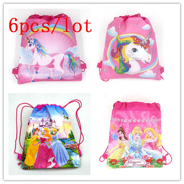 159aa813f12 New Fashion Unicorn Drawstring Bags Girl Birthday Party String Bags Child  Favor Six Princess Backpack Gift