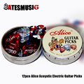 12pcs Alice Acoustic Electric Guitar Picks Plectrums + 1 Round Metal Picks Box Case Free Shipping